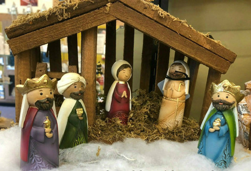 "6 piece 3.5"" tall Nativity.  Nativity figures are made of resin/dolomite mix. Dimensions are: 3.54""H x 1.38""W x 1.38""L. Free 7"" Stable with purchase!!"
