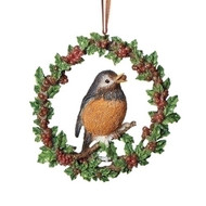 """4.25""""H Red Robin Holiday Ornament. Ornament is made of resin. Dimensions are 4.25"""" x 4.25"""" x 0.75"""""""