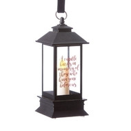 "5"" LED Battery operated Black Memorial Lantern. The Memorial lantern is black and is made of plastic. Saying on the lantern says: ""A candle burns in memory of those who have gone before us.""Dimensions are: 2.25"" x 2.25""L x 5""H. Batteries are not included."