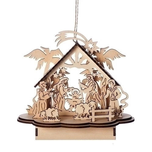"This beautiful LED laser cut nativity ornament is made with wood.  The LED nativity is perfect to add to your Christmas decorations. Does not include batteries.Dimensions are: 5.91""H X 6.30""W"