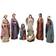 "7 Piece Set 11.5in Nativity. Nativity has a ""cracked finish "" look. The 11.5"" Nativity is made of a resin wollastonite powder."
