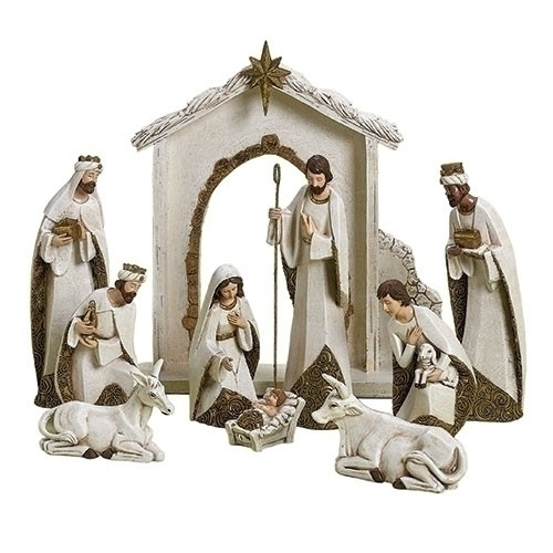 "10 Piece Ivory and Gold Nativity. Nativity has the Holy Family, the Three Wisemen, a donkey and an ox. The 12"" Nativity is made of a resin/dolomite mix."