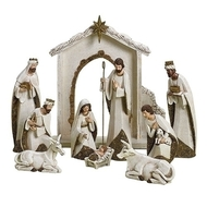 Image of the 10 Piece Ivory and Gold Nativity set sold by St. Jude Shop.