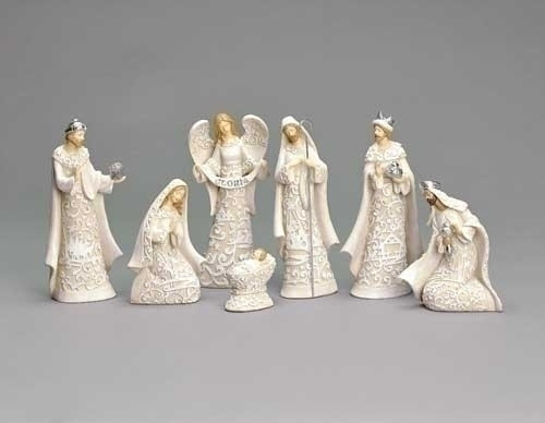 "7 Piece Paper cut Nativity set. This 7 Piece Paper cut style Nativity is made of a resin/dolomite mix. Set includes the Holy Family and the Three Wise Men. Dimensions are: 7.48""H x 1.78""W x 4.13""L"