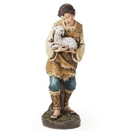 "Shepherd Boy with Lamb 33""H (39"" Scale) is made of a resin/stone mix."