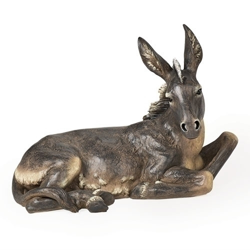 """Oversized Donkey is 19.5""""H x 27""""W x 15""""D""""H (39"""" Scale).  This Nativity donkey is made of a resin/stone mix."""