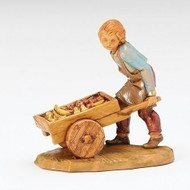 "Fontanini 5"" figure of Hugo Pushing Cart. A  new edition to the 5"" scale nativity. Made of Resin and fabric. A great piece to add to your 5"" nativity scene!! Made of polymer"