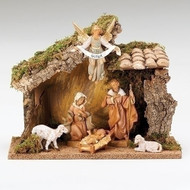 "Fontanini Polymer 5"" Scale Nativity. This 6 Piece Fontanini Nativity comes with an Italian Stable made of wood,moss, bark and polymer. Measurements are: 9.49""H X 12.2""W X 6.3""D"