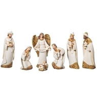"This beautiful 7""H Nativity scene is done in Ivory with Gold Leaf finish. Set includes the Holy Family and the Three Kings. A simple and clean look. Set is made of resin and the measurements are 7""H x 2.25""D."