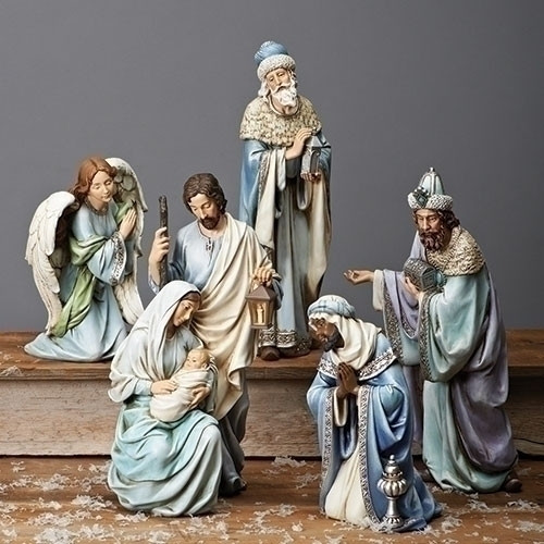 """Blue Robe 15""""H Nativity Scene. Set includes the Holy Family and the Three Kings. A simple and clean look by Joseph Studios.  This stunning Nativity scene features 5 figures wrapped in majestic, serene blue robes. A large scale set perfect for a foyer at home or a church's entrance area at Christmastime. Set is made of resin and the measurements are 15""""H x  22""""W x 5.5""""D."""