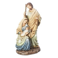 "Holy Family with Pattern Figurine.figures are painted in a soft ivory and blue.. A simple and clean look by Joseph Studios. Set is made of resin and the measurements are 10.5""H x 5.5""W x 4.25""D"