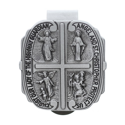 "Four-Way Medal Visor Clip Cast pewter, four-way medal ""Christ, Our Lady Of The Highway, Guardian Angel, And St. Christopher Protect Us"" visor clip with bright cut accents. Standard clip size: 1-9/16"" W x 1-11/16"" H"