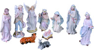 "Procelain nativity measurements are  3.25"" L x 2.25"" W x 8"" H. Pieces included: The Holy Family, The Three Kings, a Standing Angel, a shepherd, a donkey and an ox. Painted in pastel hues."