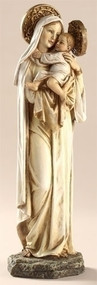 "Mater Amabilis 10 Inch Statue-Mater Amabilis ~ Mother Most Amiable. Mary's amiability is directed first of all to the Christ Child.  Resin/Stone Mix. 10.25""H x 3.5""W x 2.75""D"