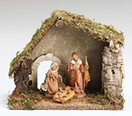 "Fontanini 3 Piece Nativity Set includes a starter stable. Dimensions of Stable: 9.84""H X 6.290""W X 11.8""L. Made of Wood, Moss, Bark and Polymer Materials."