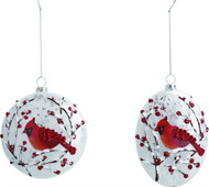 "Plastic  Frosted Look Cardinal Ornament - It is said that when a Cardinal appears, it's a visitor from Heaven. Round (3""D) or Oval (4.50""H  x 4""W x.50""D) shape available. Each sold separately."