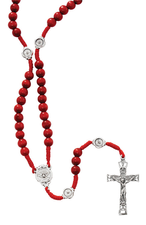 Red wood corded Holy Spirit rosary.Perfect Confirmation gift!!  Boxed. Made in Italy