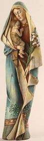 """Madonna and Child with Lily Statue. Resin/Stone Mix. 12.5"""" Height, 4"""" Width, 3"""" Diameter"""