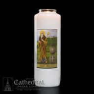 St Benedict 6-Day Glass Bottle Light Candle. Non-reusable.  Candles can be purchased individually or as a case (12 candles)