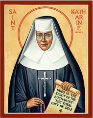 "Small size measures 3""W x 4""H x  1/2""D.  Large size measures 7 3/4""W x 9 3/4""H x 1/2""D This St. Katharine Drexel Icon features the fourth American saint to be canonized by the Catholic Church. Saint Katharine was an advocate for the poor and oppressed. This sister from Philadelphia devoted her life to uplifting the minds and spirits of the Native and African Americans. These icon portrays St. Katharine Drexel as she was so often pictured in her habit and veil.  This icon of Saint Katharine Drexel is made with an exclusive Lumina Gold process, which gives the icon a deep, rich color over gold leaf backgrounds. The icon is mounted on wood and is keyholed for easy hanging. The St Katharine Drexel Icon has a non glare satin lamination and is washable. It is also protected with a UV vynal coating. Made in the USA!!"