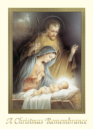 "For Priests Only!! Christmas Remembrance Cards. 4 7/8"" x 6 3/4"" 25 per box (Gold Foil Embossed) Inside Verse: May all the blessings of the Christ Child be yours this Christmas and may His Divine Presence enrich your life throughout the New Year.  You and your loved ones will be remembered in the Holy Sacrifice of the Mass."