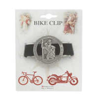"""Go Your Way in Safety St. Christopher Catholic Bike Clip. Pewter bike clip measures 1 1/4"""" x 1 1/2"""". Bike clip has an antique finish. Manufactured in USA"""