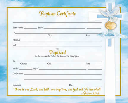 "Inspirational Baptism Certificate.  Certificates measure 8"" x 10"". 50 per box (Gold Ink). Matching Holy Card and Bulletin Available. Choose Preprinted as shown or a blank Create Your Own Certificate."