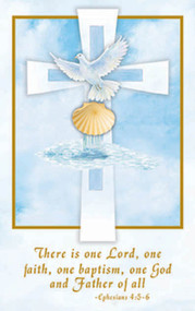 "Inspirational Baptism Bulletins.  Bulletins measure 5.5"" x 8.5"". 100 per box (Gold Ink). Matching Holy Card and Certificate Available. ""There is one Lord, one faith, one baptism, one God and Father of all."" Ephesians 4:5-6"