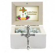"""First Holy Communion Wooden Jewelery Box with white glass rosary. On the lid of the box is written """"JHS"""" is written on the box in gold lettering."""