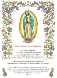 "Holy picture of Our Lady of Guadalupe on gold blocking print in parchment paper with text (Prayer ti Our Lady of Guadalupe). Made in Italy. 8""W x 11""H"
