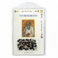 "St Benedict booklet with Rosary.  Book measures 4"" x 6"" and the book contains: one short biography,  the Prologue of the Holy Rule, the cross and the medal,  the prayer. The rosary is black beads with silver crucifix and medal. Made in Italy. 3.75""W x 6""H"