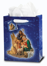 "Small or Medium Christmas Nativity Inspirational Gift Bag. Designed in Italy by the Studios of Fratelli Bonella. Small Gift Bag dimensions: 3 3/4"" x 5"" x 2"".  Medium Gift Bag dimensions: 7 3/4"" x 9 3/4"" x 4"""