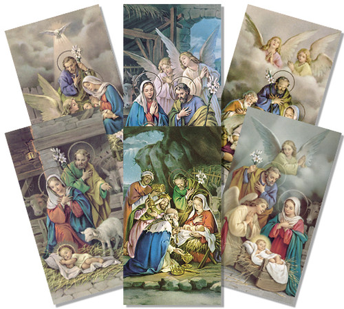Angel Series Assorted Holy Cards. Size 2'' x 4'' with blank back, available in assorted pack of 100. Includes 6 different images