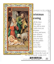 "Christmas Blessings. 2""x4"" Gold Embossed Italian Holy Card with Prayer."