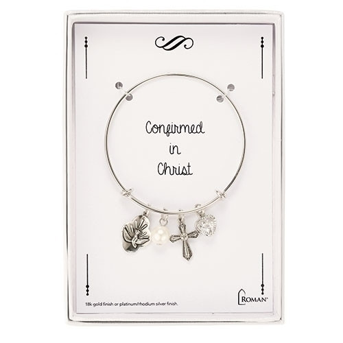 Silver Adjustable Confirmation Bangle Bracelet. Comes iwth Holy Spirit and heart charm, a pearl and crystal heart.