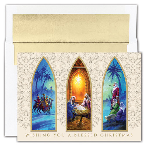 "Christmas cards feature gold foil and an emboss. Inside Sentiment: ""As The World Rejoices In The Wonder Of His Birth, May You Be Blessed With A Beautiful Christmas And With Every Happiness In The New Year.""  16 cards/16 foil lined envelopes. Folded Card Size: 5.625"" x 7.875"". Packaged in a printed box with an inside fit acetate lid."