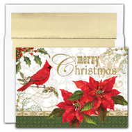 "MERRY CHRISTMAS Cardinal Boxed Christmas Cards - Christmas card features cardinals and poinsettas, a holiday favorite in gold foil with embossing. Inside Sentiment: ""MAY YOUR CHRISTMAS HOLIDAY AND ALL THE DAYS THAT FOLLOW BE FILLED WITH WARMTH AND GOOD CHEER."" 16 cards/16 foil lined envelopes. Folded Card Size: 5.625 x 7.875. Packaged in a printed box with an inside fit acetate lid."