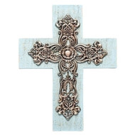 "12.25""H Wall Cross. Wall cross is blue washed with scrolled layers. Made of a resin stone mix. Dimensions are 12.25""H x 9""W."