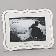 "6.5""H White Weding Frame. Frame holds 4"" x 6"" photo. Wedding frame is made of zinc alloy and is lead free"