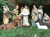 "32"" Indoor or Outdoor 12 piece Nativity is made of fiberglass and resin construction with outdoor paint"