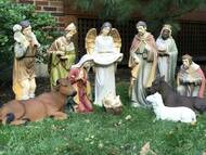 Indoor or Outdoor 12 piece Nativity is made of fiberglass and resin construction with outdoor paint