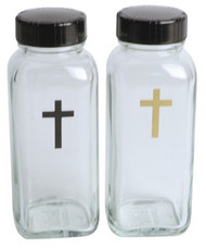 "Glass Bottles with caps. Each holds 4 ounces. One with black cross and one with gold cross. Measurements are: 4.5""H x 1 .75""W x 1.75""L.  Convenient for traveling priests."