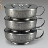 """Straight hammered, silver oxidized outside finish. 7 1/2"""" diameter, with lid. Priced per ciborium, not by the set. Choose Polished Gold Inside or Satin Gold Inside"""
