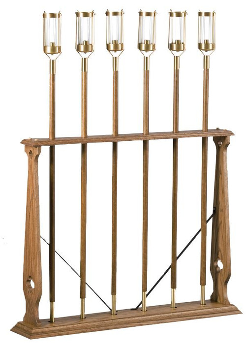 """Processional Candle Stand. Stand Only!  Overall Height 27"""" x 37"""" wide, made of oak wood. Holds 6 processional candlesticks. Order with or without 898X Torches at an additional cost. Candles not included."""