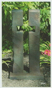 Open works cross garden statue made with solid cast stone cement.