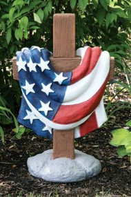 "Beautifully detailed 24"" USA Memorial Cross. Dimensions: 24.5""H x 15.5""BW x 12"" BL. Wt: 60 pounds."