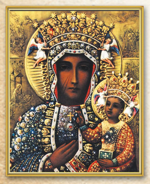 """Italian art plaque of Our Lady of Czestochowa . Our Our Lady of Czestochowa measures 8"""" x 10"""". the plaque is laminated and has gold trim on a thick board. Gift Boxed"""