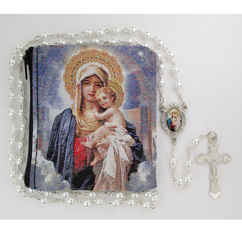 5MM Pearl coated beads with a rhodium plated pewter Mother and Child center and crucifix. Comes with a Mother and Child zipper rosary pouch.