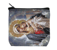 "Mother and Child are depicted on this cloth rosary pouch with zipper closure. Measures 3.5"" x 3""."