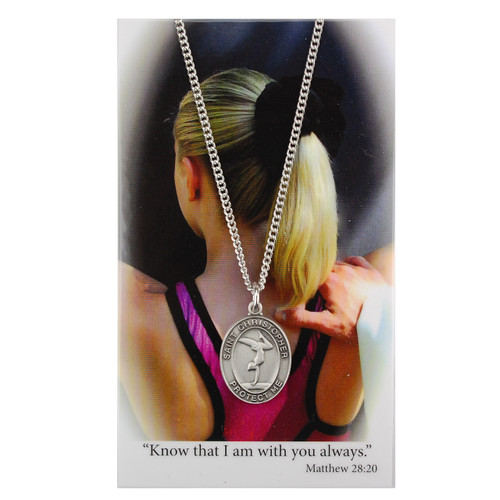Gymnastics-Girls Pewter Sport Medals on and adjustable cord or stainless steel chain. Prayer card comes with the pendant. Choice of Gymnastics, Softball, Swimming, Basketball, Soccer, Cheerleading, or Volleyball. Prayer is: Always With You